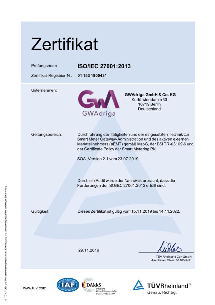 GWAdriga GmbH & Co. KG Zertifikat ISO/IEC 271001:2013