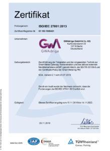 GWAdriga Zertifikat ISO/IEC 27001:2013
